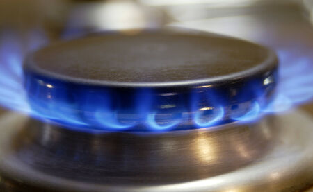 flamme: Flamme eines Gasherdes, Flame of a gas cooker Stock Photo