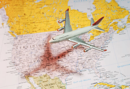 east coast: Model aircraft over a map of america