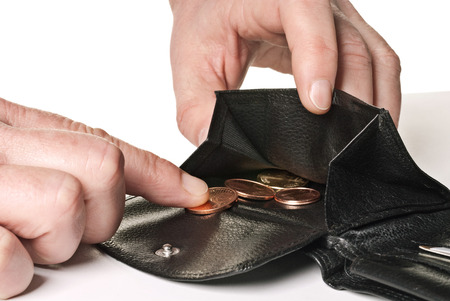 insolvency: The last cent out of the wallet Stock Photo
