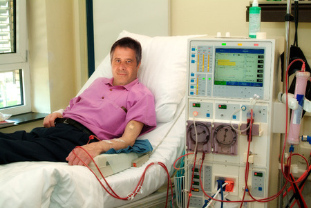 Patient in a clinic in dialysis