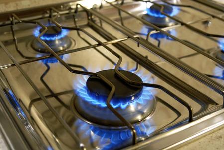 gas cooker: Flammen eines Gasherdes, llamas de una cocina de gas