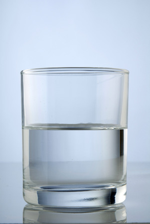 A half full glass of water photo
