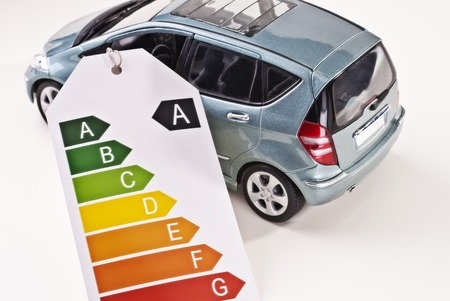 emission: Car with efficiency label as an indication of low emissions. Stock Photo