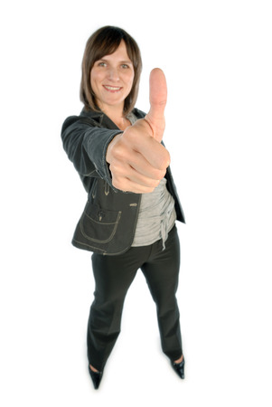Woman showing thumbs-up by her agreement