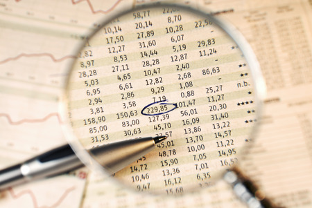 Magnifier shows stock prices  One is marked