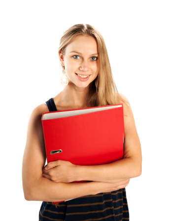 Young blonde woman with red folder isolated on white