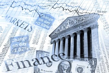 Komponieren mit Aktienindex-, Wechselkurs-Tabelle und der NYSE-Gebäude in New York City