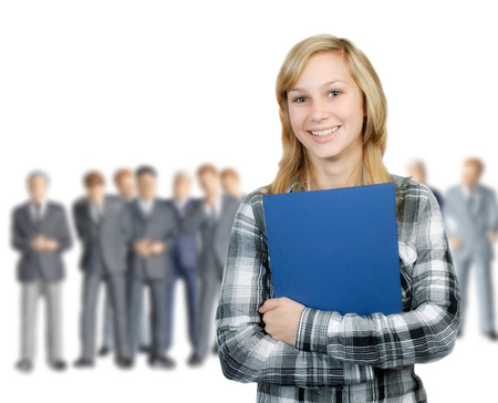 Young woman stands in front of a group of business men  photo