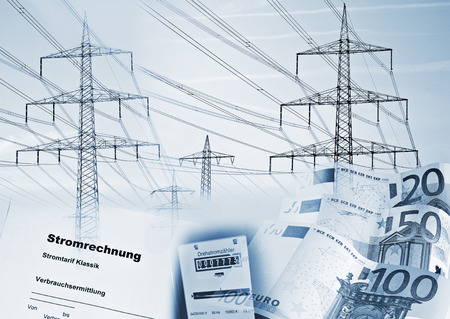 power suppliers: Electricity pylons, electricity meter, money, and a document with the german word  Stromrechnung  symbolizing the supply of electricity and its cost  Stock Photo