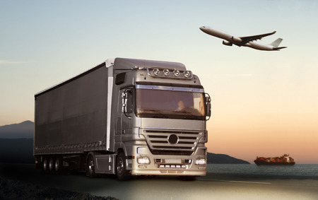 Transportation by truck, ship or plane Stock Photo