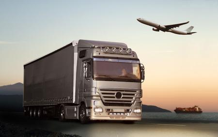 Transportation by truck, ship or plane Stockfoto