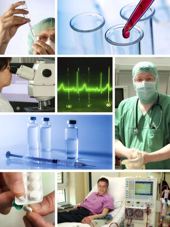 Collage met verschillende scènes uit de gebieden van de gezondheidszorg en de geneeskunde