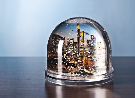 The skyline of Frankfurt in a snow globe  Banque d'images