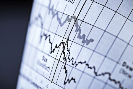 Two curves show the course of share prices on the stock exchange