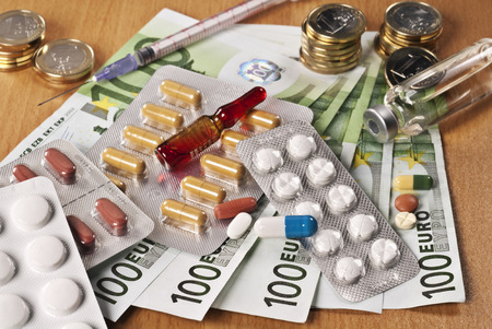 Several drugs and Euro money on a table