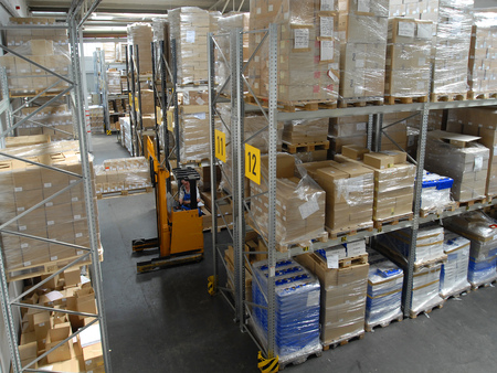 wholesale: View in a warehouse with forklift