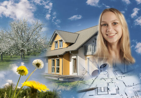 Collage with property, blueprint, garden and a smiling young woman photo
