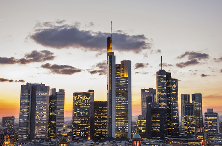 Skyline of Frankfurt, Germany in the evening
