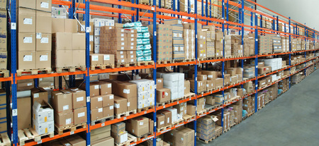 View on a high shelf in a warehouse