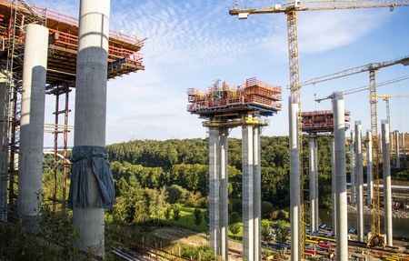 Construction work on the bridge of the A3 motorway, leading in Limburg (Germany) over the Lahn Valley.