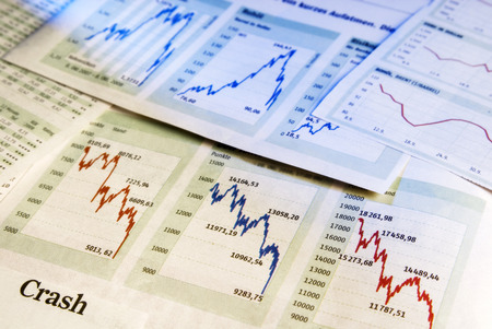 market crash: Charts show falling share prices as a symbol for a crash in the stock market.