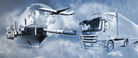 goods train: Transport of goods by truck, boat, plane and train. Stock Photo