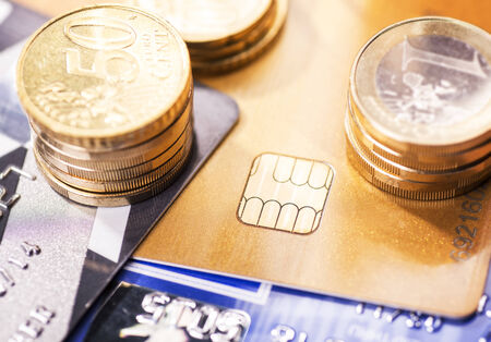 technically: Smart card with chip and coins Stock Photo