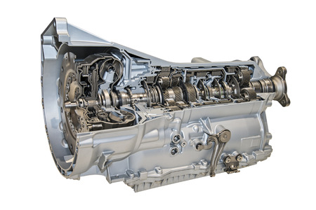 car transmission: Modern 8-speed automatic transmission for cars isolated over white.