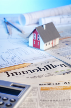 reside: Real estate ads and blueprints Stock Photo