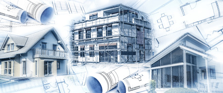 New buildings with a shell and blueprints as a symbol for the construction industry or the real estate industry. Stockfoto