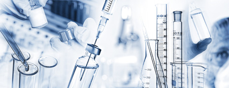 laboratory research: Analysis system, syringe, microscope and other laboratory utensils. Stock Photo