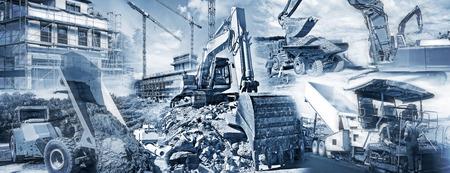 Différents types de machines de construction avec les chantiers de construction et de bâtiments en cours de construction. Banque d'images - 43692132