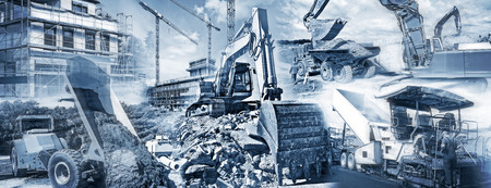 Various types of construction machinery with construction sites and buildings under construction.