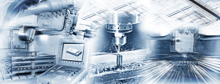 machine: Production with CNC machine, drilling and welding and construction drawing in industrial operation.