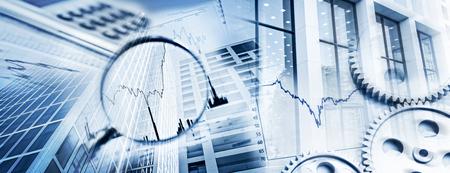 拡大鏡、歯車、チャート、電卓、ビジネスと金融市場の象徴として事務所建物のファサード。