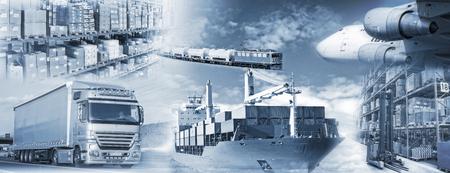 taşıma: kamyon, gemi, uçak ve tren ve depolama yük taşınması. Stok Fotoğraf