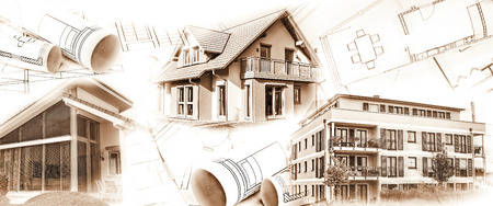 real estate industry: New buildings and blueprints as a symbol for the construction or real estate industry.