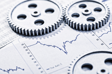 financial service: Graphics with curves and three gearwheels