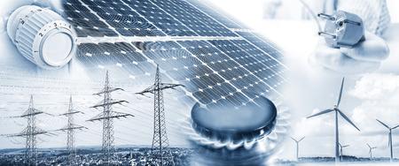 Las torres de electricidad, turbinas eólicas y paneles solares con el enchufe, llama de gas y termostato de la calefacción