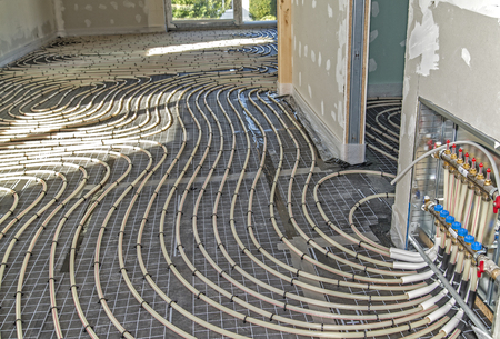 Pipes of an underfloor heating during installation