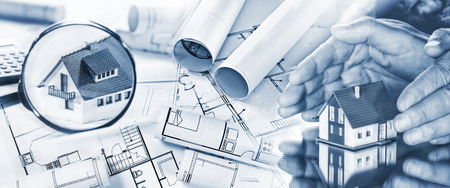 protection plan: Blueprints, a house in the focus of a magnifying glass and another is surrounded by hands.