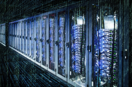 Network cabinets with server racks in a data center with matrix. Archivio Fotografico