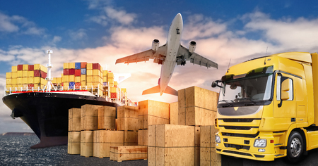 Truck, airplane and ship with carrier boxes as a symbol for international trade Archivio Fotografico
