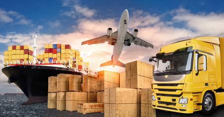 Ciężarówka, samolot i statek z pudłami przewoźnika jako symbol handlu międzynarodowego Zdjęcie Seryjne