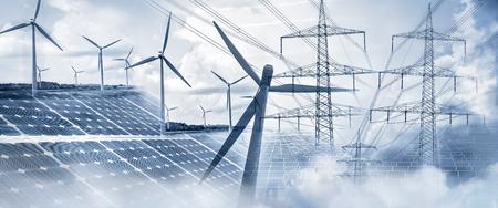 풍력 터빈, 태양 전지판 및 전기 철탑으로 구성