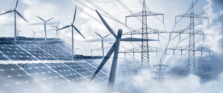 Composing with wind turbines, solar panels and electricity pylons Stok Fotoğraf - 96303403