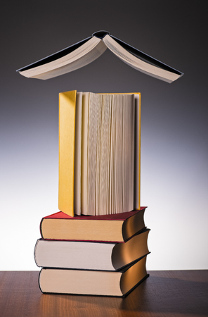 Three stacked books with a book on it and one floating above them all. Banque d'images - 100161674