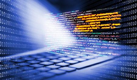 Toetsenbord met programmeercode en binaire getallen op de achtergrond