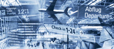 Airplanes and architecture with information boards at airports Banque d'images - 100150599