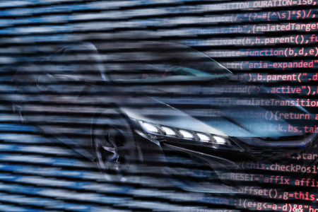 Futuristic car with digital code Banque d'images - 100181146